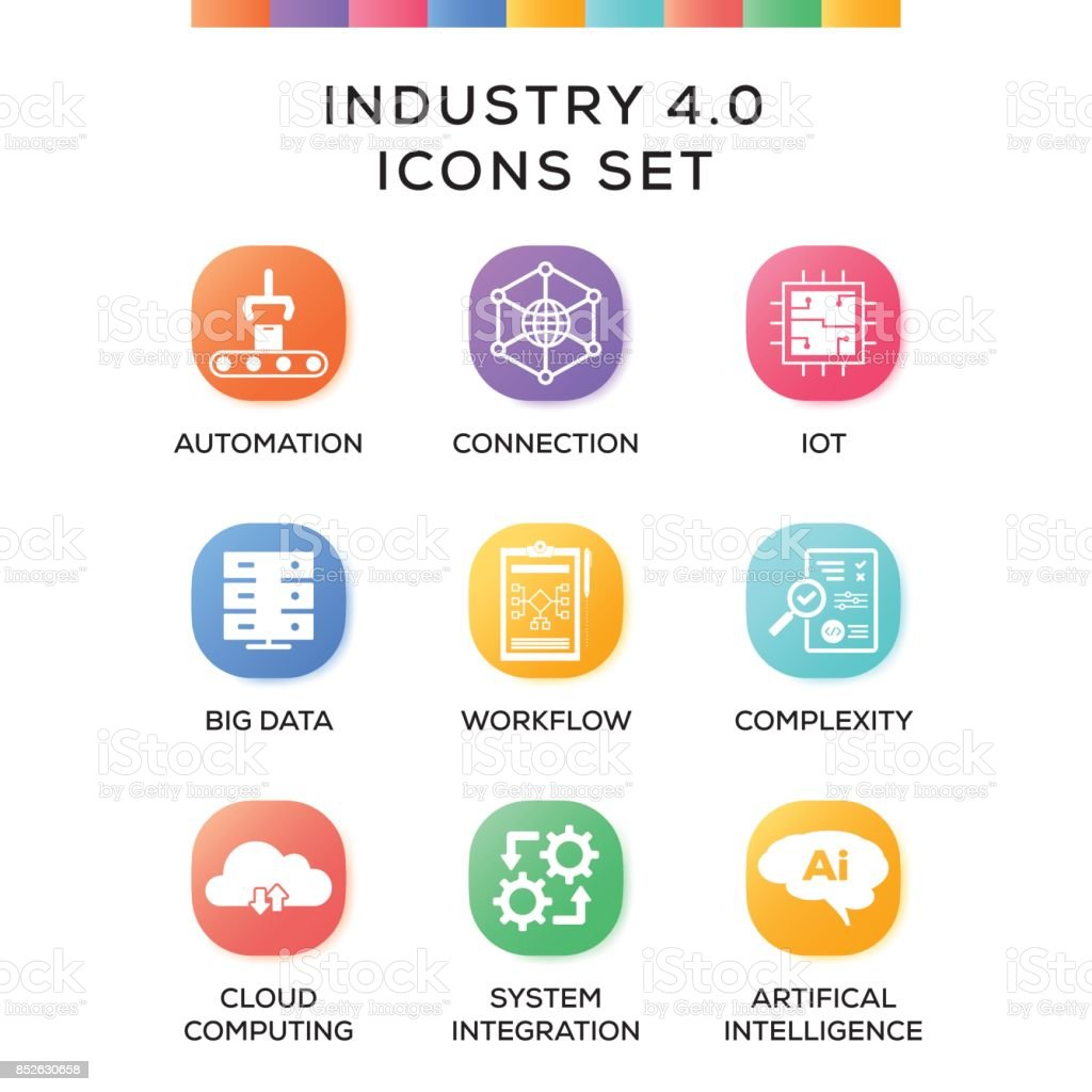 Industry 4.0 Icons Set on Gradient Background vector art illustration
