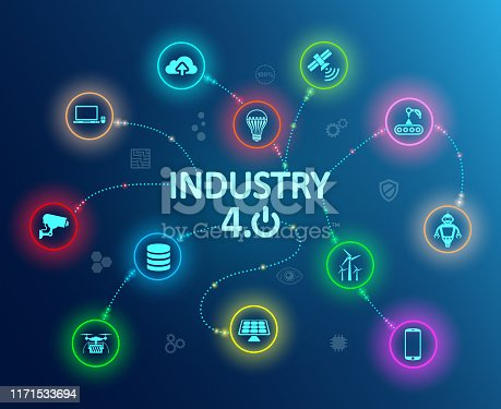 istock Industry 4.0 infographic concept factory of the future – stock vector 1171533694