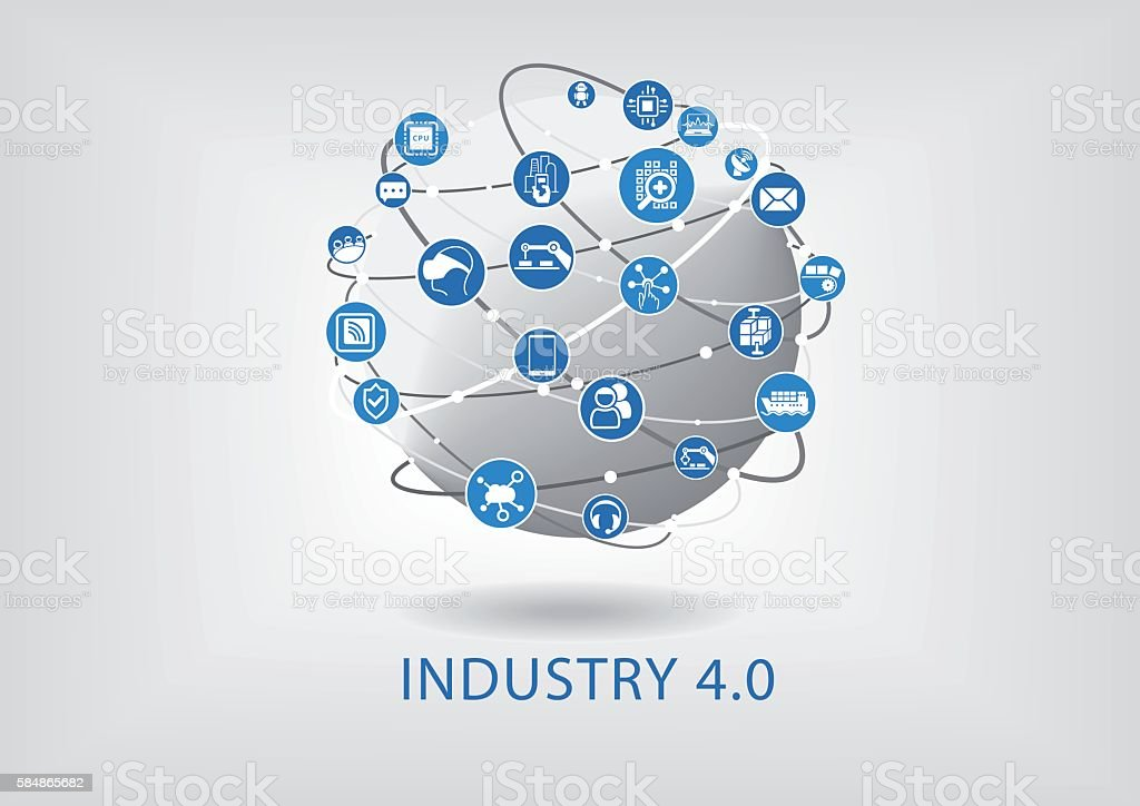Industry 4.0 infographic. Connected smart devices with globe. vector art illustration