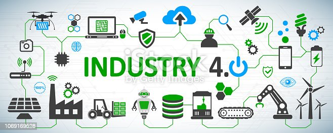 istock Industry 4.0 infographic factory of the future – for stock vector 1069169528