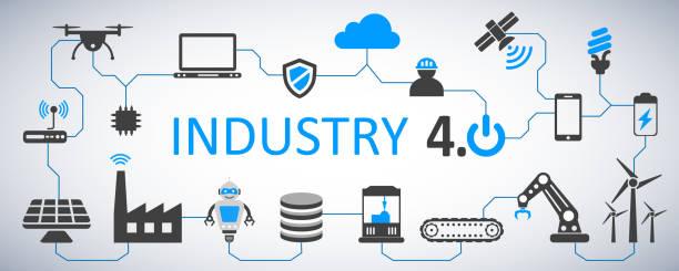 株式ベクトル – 将来の業界 4.0 インフォ グラフィック工場 ベクターアートイラスト