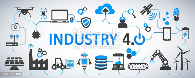 istock Industry 4.0 infographic factory of the future – vector 1001299468