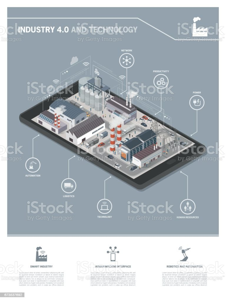 Industry 4.0 infographic vector art illustration