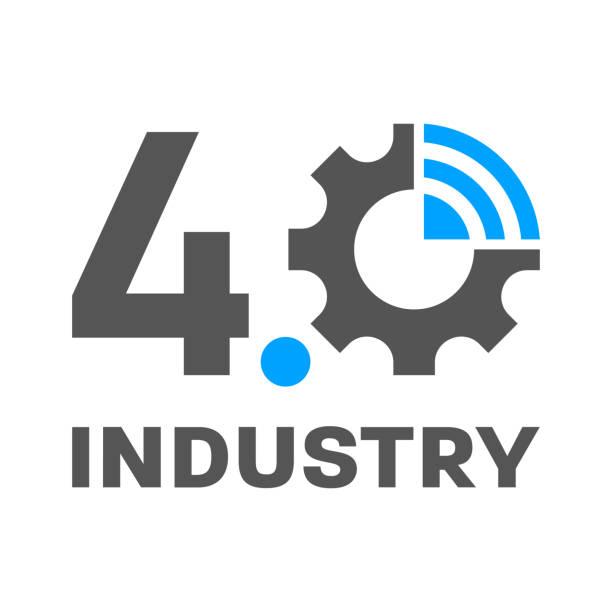 Industry 4.0, IoT, Smart Factory concept logo. Vector Illustration. EPS 10 vector art illustration