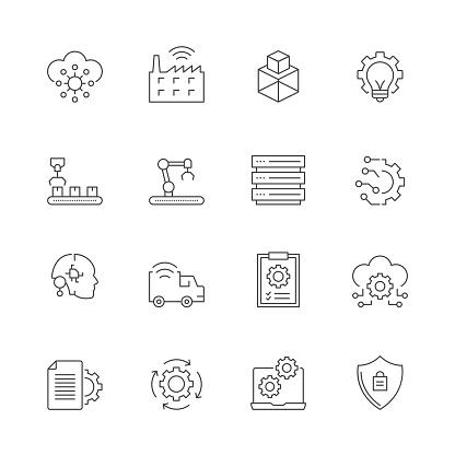 Industry 4.0 Line Icon Set