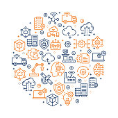 Industry 4.0 Pattern Design - Colorful Line Icons arranged in circle
