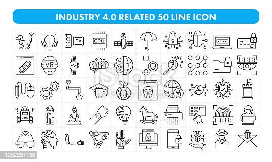Industry 4.0 Related 50 Line Icon