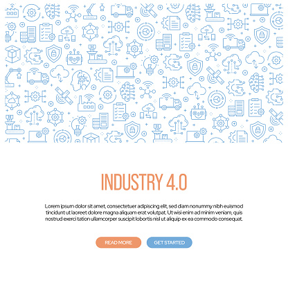 Industry 4.0 Related Banner Design with Pattern. Modern Line Style Icons Vector Illustration