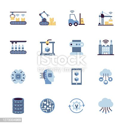 Industry 4.0 Related Flat Style Icons. Vector Symbol Illustration.