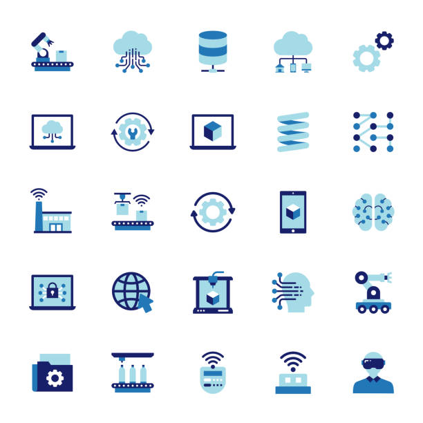 Industry 4.0 Related Flat Style Icons. Vector Symbol Illustration. Industry 4.0 Related Flat Style Icons. Vector Symbol Illustration. digitized stock illustrations