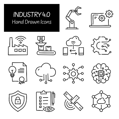 Industry 4.0 Related Hand Drawn Icons, Doodle Elements Vector Illustration