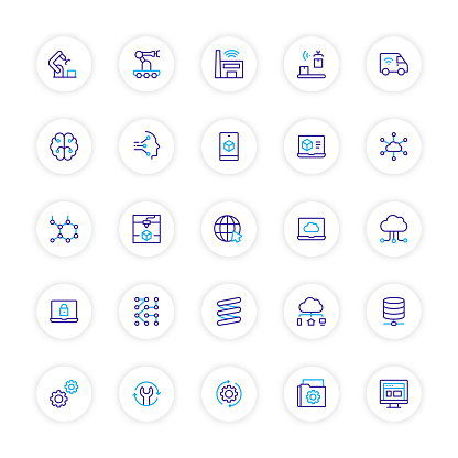 Industry 4.0 Related Line Icons. Vector Symbol Illustration.