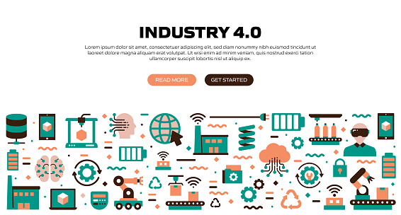Industry 4.0 Related Modern Flat Style Vector Illustration