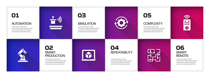Industry 4.0 Related Process Infographic Template. Process Timeline Chart. Workflow Layout with Linear Icons