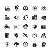 Industry 4.0 Related Vector Icons