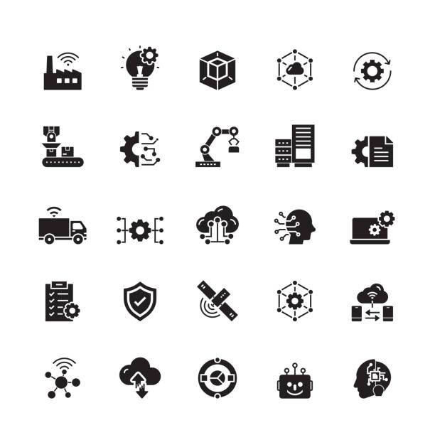 przemysł 4.0 powiązane ikony wektora - produkować stock illustrations
