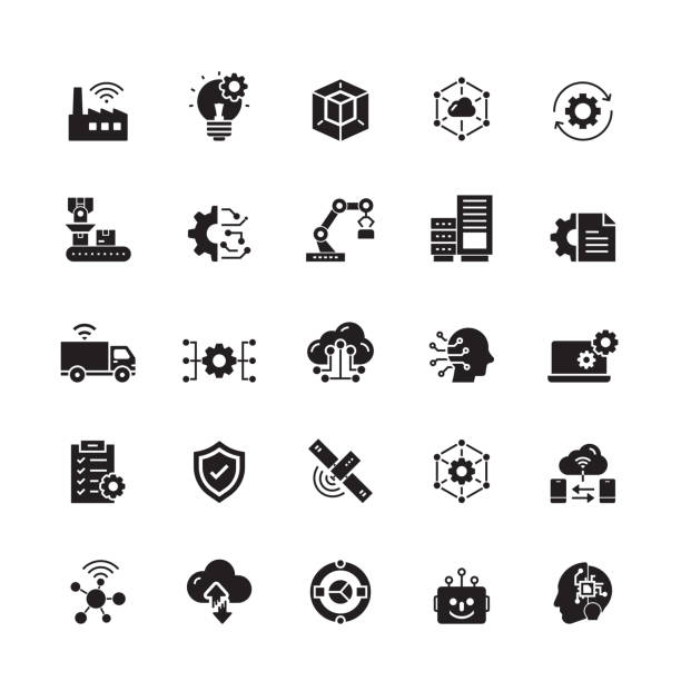Industry 4.0 Related Vector Icons Industry 4.0 Related Vector Icons factory stock illustrations