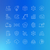 Industry 4.0 Related Vector Line Icons - Editable Stroke