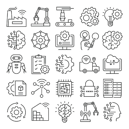 Industry 4.0 Related Vector Line Icons. Pixel Perfect Outline Symbol