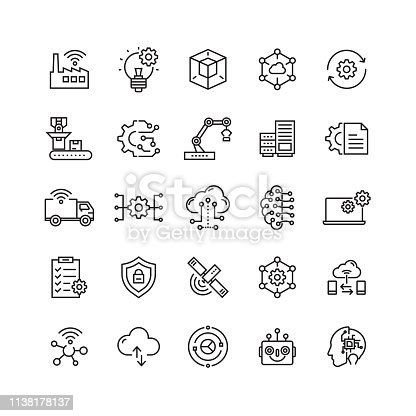 istock Industry 4.0 Related Vector Line Icons 1138178137