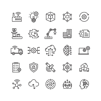 Industry 4.0 Related Vector Line Icons clipart