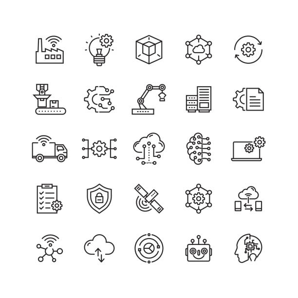industry 4.0 related vector line icons - konstrukcja budowlana stock illustrations