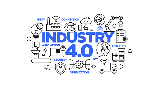 Industry 4.0 Related Web Banner Line Style. Modern Linear Design Vector Illustration for Web Banner, Website Header etc.