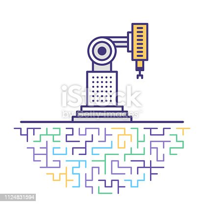 istock Industry 4.0 Robotic Flat Line Icon Illustration 1124831594