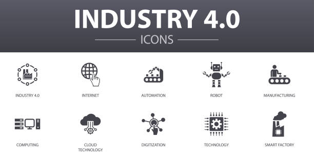 Industry 4.0 simple concept icons set. Contains such icons as internet, automation, manufacturing, computing and more, can be used for web, logo, UI/UX Industry 4.0 simple concept icons set. Contains such icons as internet, automation, manufacturing, computing and more, can be used for web, logo, UI/UX digitized stock illustrations