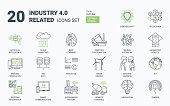 Industry 4.0 icons set. Contains such icons as internet, automation, Artificial Inteligence, Augmented Reality, Machine Learning, Process Simulation, Neural Network Cybersecurity
