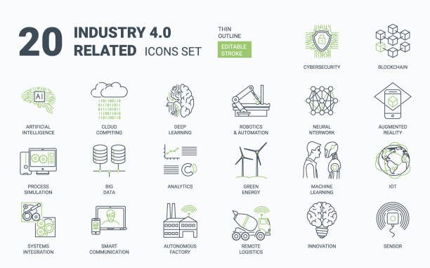 Industry 4.0 Simple Icons Set with Editable Stroke and Linear Style Industry 4.0 icons set. Contains such icons as internet, automation, Artificial Inteligence, Augmented Reality, Machine Learning, Process Simulation, Neural Network Cybersecurity manufacturing stock illustrations