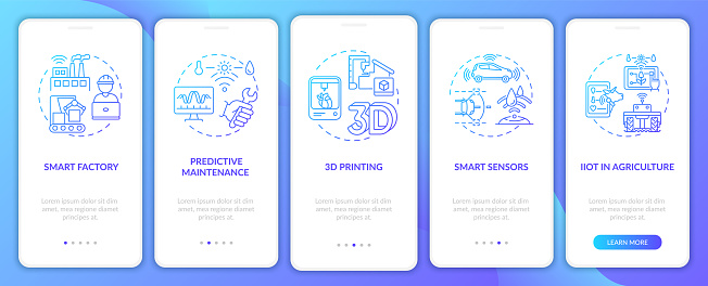 Industry 4.0 tendency onboarding mobile app page screen with concepts. 3D printing, IIoT in farming walkthrough 5 steps graphic instructions. UI vector template with RGB color illustrations