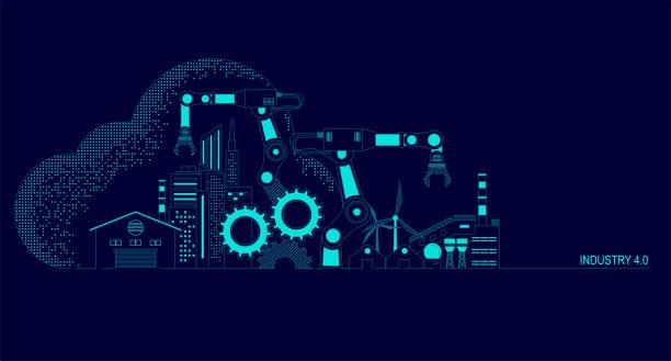 przemysł 4.0 - produkować stock illustrations