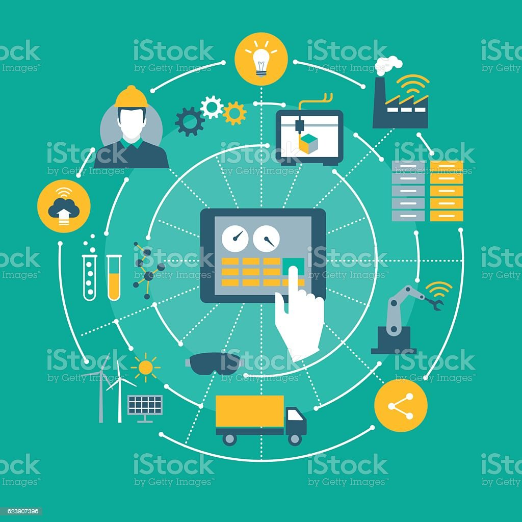 Industry 4.0 Industry 4.0, automation, internet of things concepts and tablet with human machine interface 3D Printing stock vector