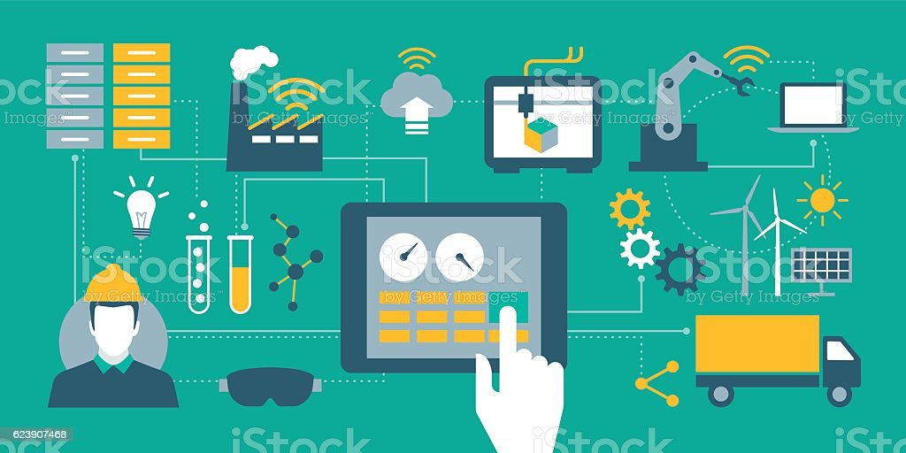 Industry 4.0 vector art illustration