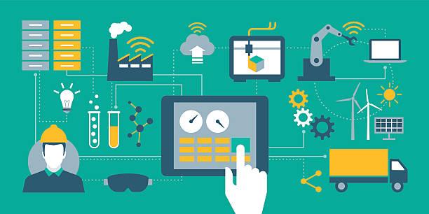 Industry 4.0 vector art illustration