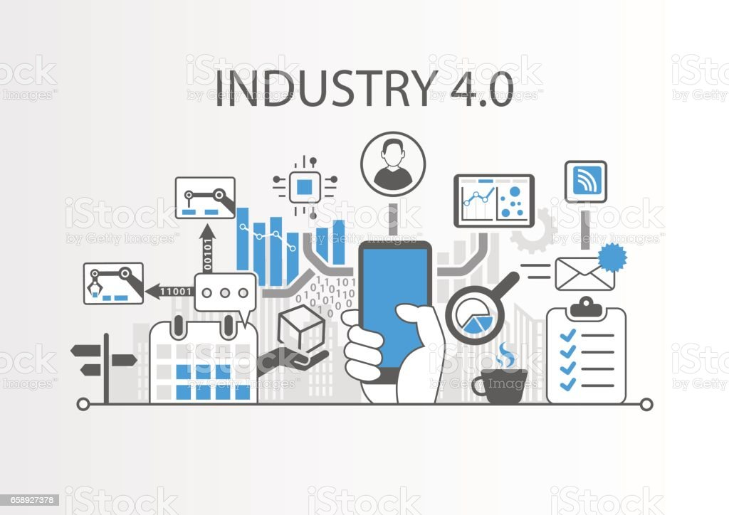 Industry 4.0 vector illustration background as example for internet of things technology vector art illustration