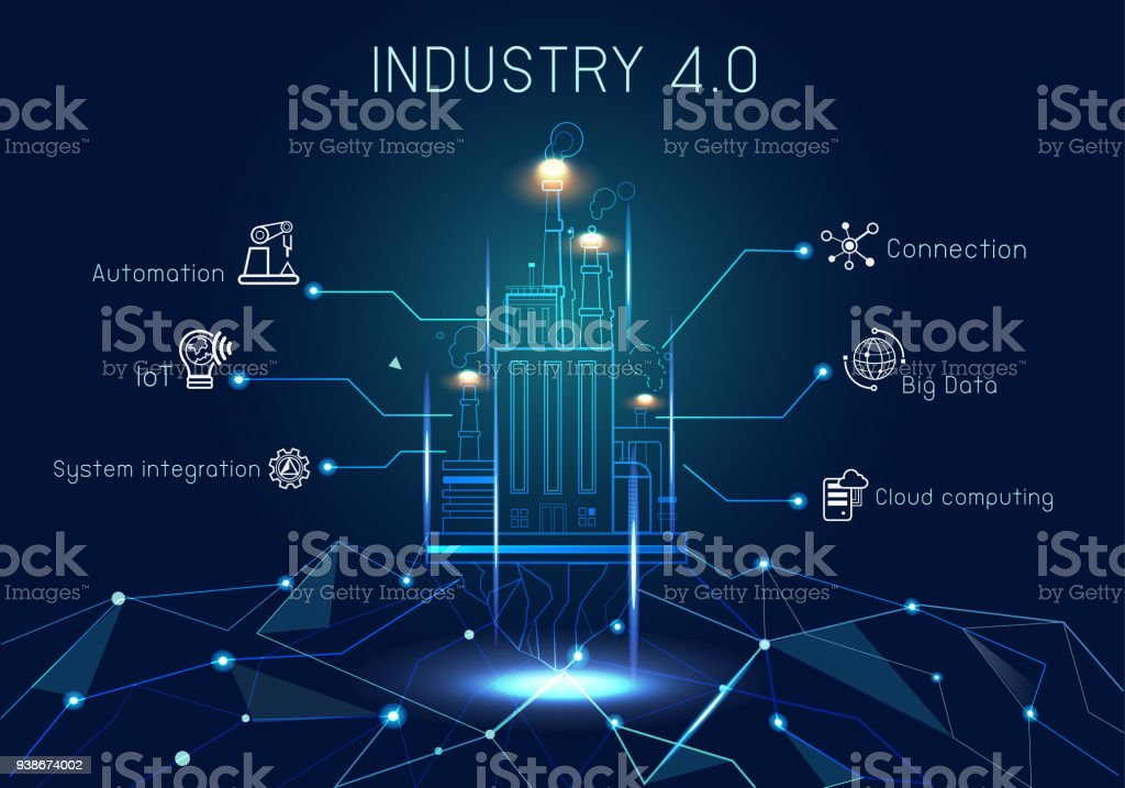 Industry 4.0 with hologram Banner concept with Keywords and icons. royalty-free industry 40 with hologram banner concept with keywords and icons stock illustration - download image now
