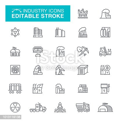 Warehouse, Built Structure, Environment, Industry, Editable Stroke Icon Set