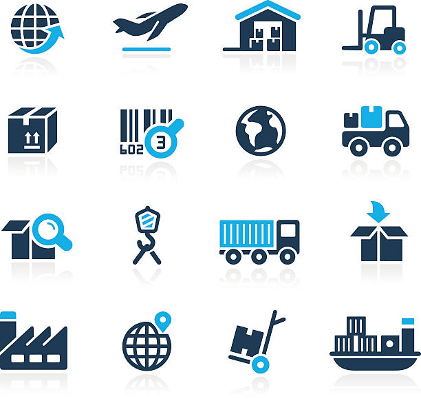 Industry and Logistics Icons - Azure Series vector art illustration