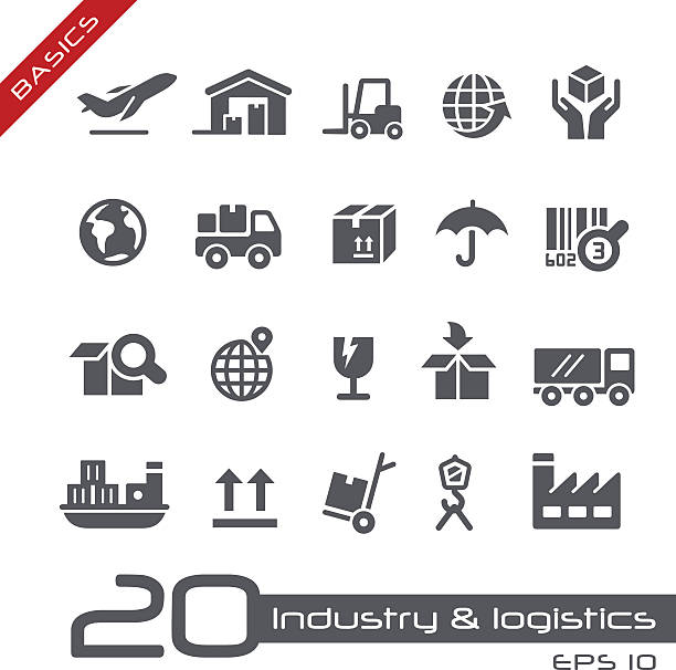 Industry and Logistics Icons - Basics Industry and Logistics vector icons for your website or printed media. cardboard box stock illustrations