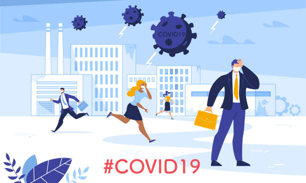 Industry Business Crisis due to Coronavirus Attack Industrial Financial Crisis and Business Productivity Failure due to Coronavirus Attack. Frustrated People in Mask Run Away. Man in Panic Wearing Formal Suit Holding Head. Covid19 Hovering over City crisis stock illustrations