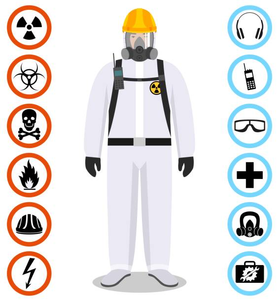 Industry concept. Detailed illustration of worker in white protective suit. Safety and health vector icons. Set of signs: chemical, radioactive, dangerous, toxic, poisonous, hazardous substances. vector art illustration