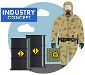Detailed illustration of barrels with chemical, radioactive, toxic, hazardous substances and worker in flat style. Man in camouflage protective suit in flat style. Dangerous profession. Vector illustration.