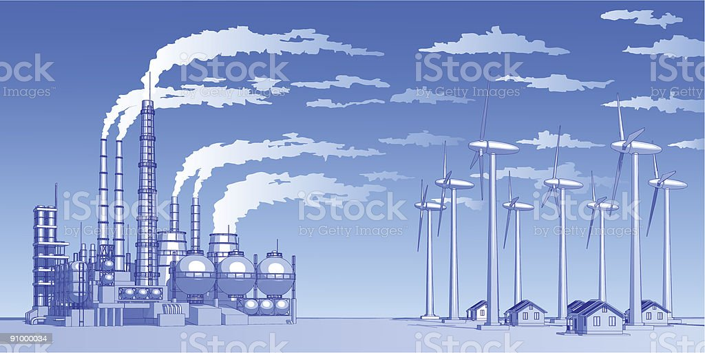 Industry concept: plant, wind turbines & houses royalty-free stock vector art