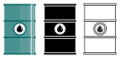 Industry concept. Set of different barrels for oils, hazardous, dangerous, flammable and poisonous substances isolated in flat style: colored, black silhouette and contour. Vector illustration