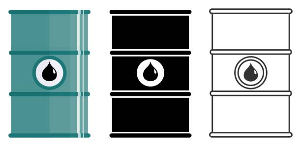 Industry concept. Set of different barrels for oils, hazardous, dangerous, flammable and poisonous substances isolated in flat style: colored, black silhouette and contour. Vector illustration vector art illustration