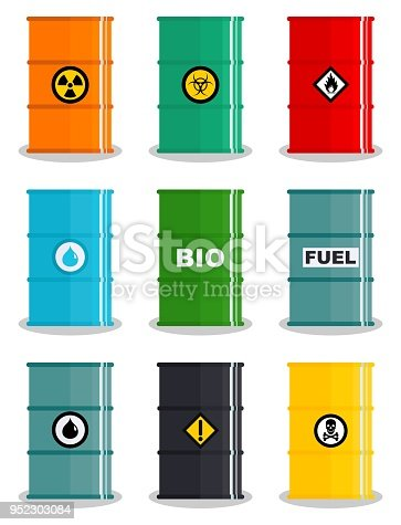 Industry concept. Set of different illustration silhouettes barrel for various liquids: water, oil, biofuel, explosive, chemical, radioactive, toxic, hazardous, dangerous, flammable and poisonous substances and liquids. Vector illustration