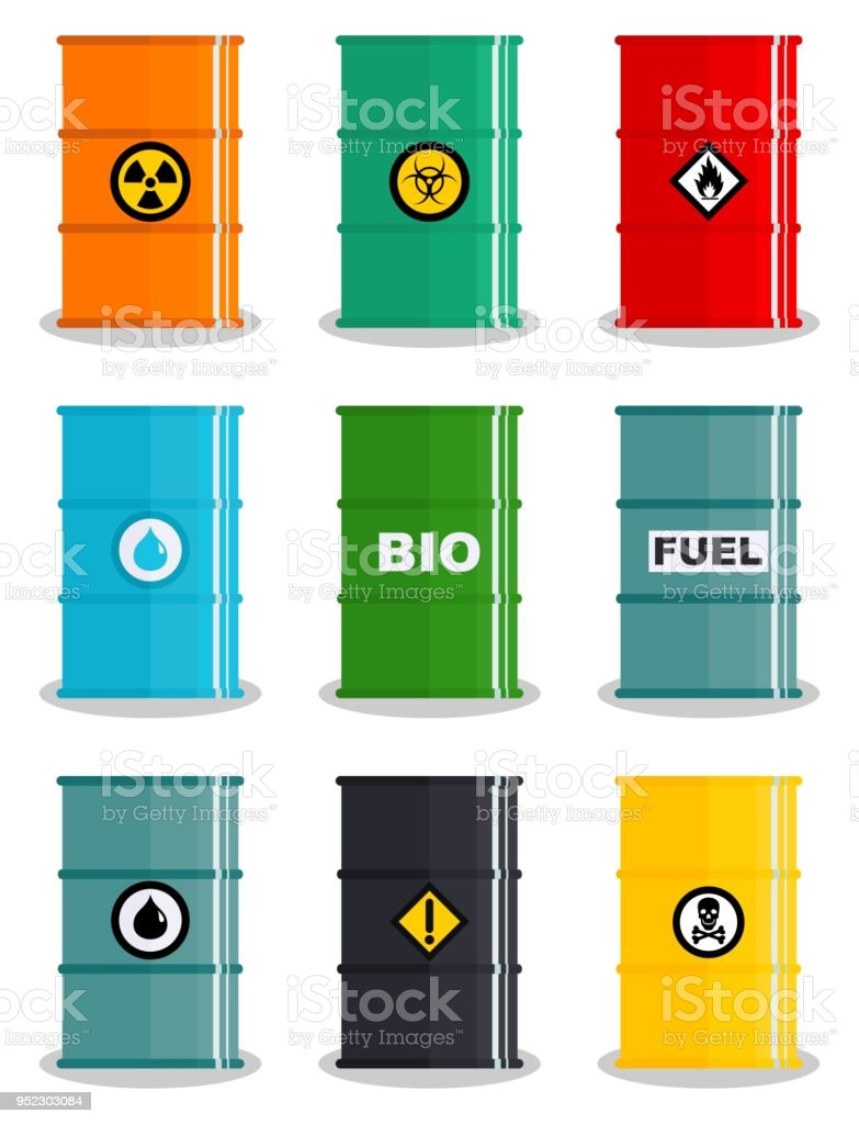 Industry concept. Set of different illustration silhouettes barrel for various liquids: water, oil, biofuel, explosive, chemical, radioactive, toxic, hazardous, dangerous, flammable and poisonous substances and liquids. Vector vector art illustration