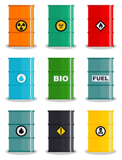 Industry concept. Set of different illustration silhouettes barrel for various liquids: water, oil, biofuel, explosive, chemical, radioactive, toxic, hazardous, dangerous, flammable and poisonous substances and liquids. Vector Industry concept. Set of different illustration silhouettes barrel for various liquids: water, oil, biofuel, explosive, chemical, radioactive, toxic, hazardous, dangerous, flammable and poisonous substances and liquids. Vector illustration hazardous chemicals stock illustrations